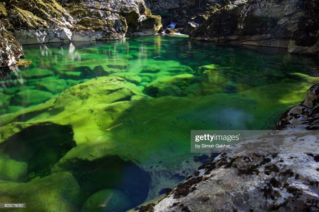 Emerald Green Natural Plunge Pool Near To Rijecki Grad Montenegro Stock Photo
