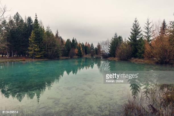 emerald green pools - mackenzie country fotografías e imágenes de stock