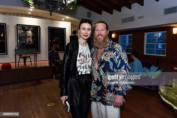 Emerald Gruin and Gregory de la Haba attend the OMAR'S and MAISON MONTAIGNE PARIS Host Enchanted Hours at Exclusive PopUp at Omar's Cabana Club on...