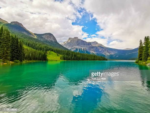 emerald lake en de president range, yoho nationaal park, canada - canadian rockies stockfoto's en -beelden
