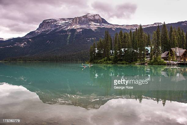 Emerald Lake located in Yoho National Park is viewed on June 26 2013 near Lake Louise Alberta Canada Major flooding along the Bow River in June...