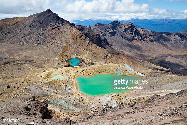 Emerald lakes from the summit of Tongariro Alpine Crossing