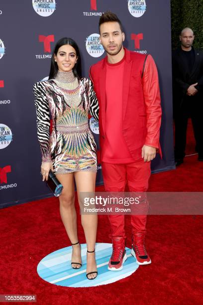 Emeraude Toubia and Prince Royce attend the 2018 Latin American Music Awards at Dolby Theatre on October 25 2018 in Hollywood California