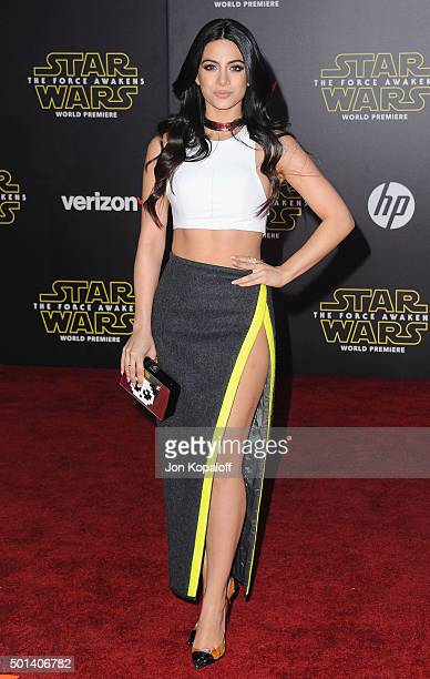 Emeraude Toubia arrives at the Los Angeles Premiere 'Star Wars The Force Awakens' on December 14 2015 in Hollywood California