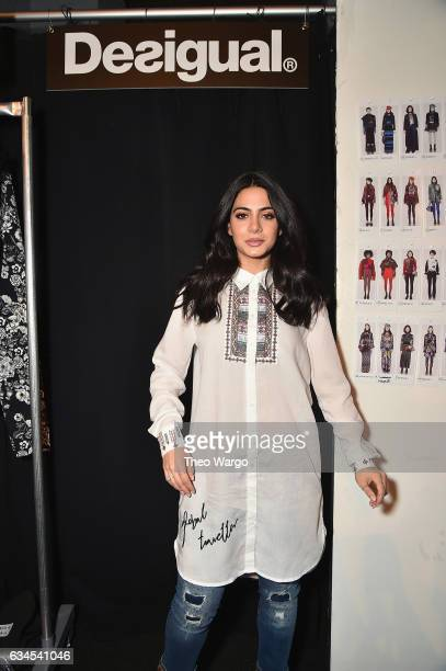Emeraude Toubia attends the Desigual fashion show during New York Fashion Week at Gallery 1 Skylight at Clarkson Sq on February 9 2017 in New York...