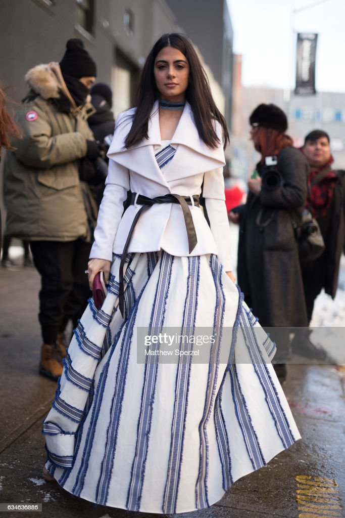 Emeraude Toubia is seen attending MILLY during New York Fashion Week wearing Milly on February 10, 2017 in New York City.