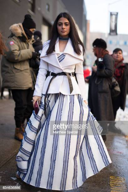 Emeraude Toubia is seen attending MILLY during New York Fashion Week wearing Milly on February 10 2017 in New York City