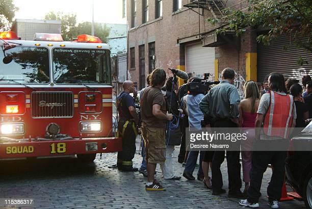 Emercency services arrive at Diane Von Furstenberg's studio, where Hilary Alexander was injured by a falling light at the end of Von Furstenberg's...