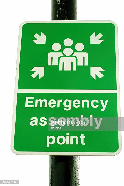 Emergency assembly point green sign