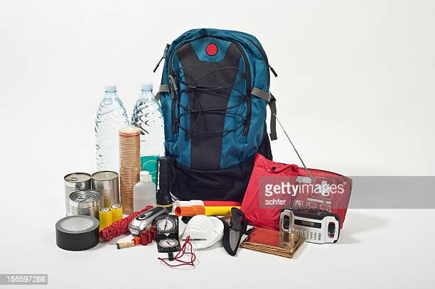 emergency backpack - emergencies and disasters stock pictures, royalty-free photos & images