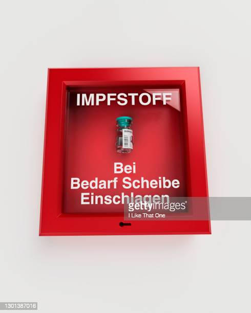 emergency break glass box containing vaccine german - atomic imagery stock pictures, royalty-free photos & images