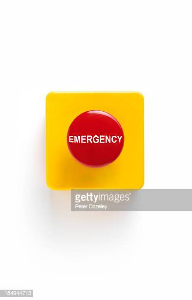 emergency button on white background - emergencies and disasters stock pictures, royalty-free photos & images