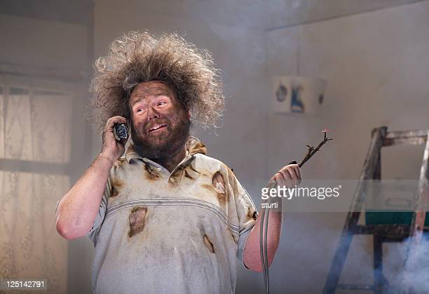 diy emergency call - man on fire stock photos and pictures