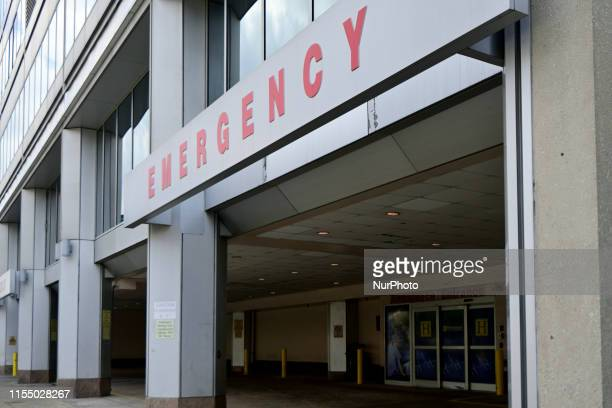 Emergency entrance of Hahnemann University Hospital in Philadelphia PA on July 10 2019 The struggling Center City located hospital owned by American...