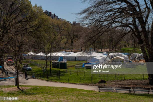 emergency field hospital opened in manhattan central park in response to the covid-19 pandemic. - temporary stock pictures, royalty-free photos & images
