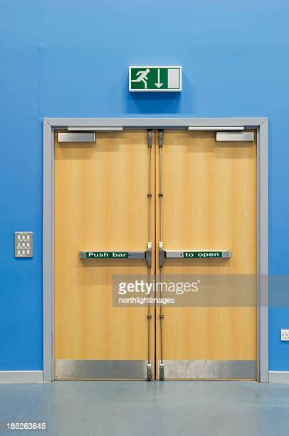 emergency fire doors - exit sign stock pictures, royalty-free photos & images