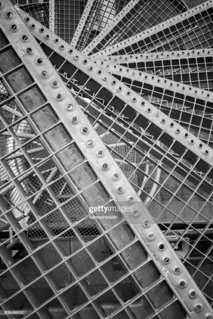 Emergency Fire Escape Staircases On A Building Exterior Hotel Apartment :  Stock Photo