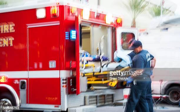 Emergency loading of ambulance