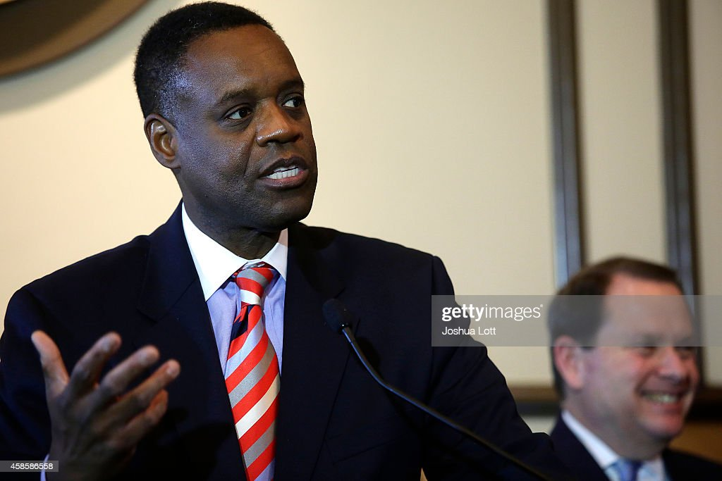 Emergency Manager Kevyn Orr speak sduring a news conference November 7, 2014 in Detroit, Michigan. Today U.S. Bankruptcy Judge Steven Rhodes gave the City of Detroit the okay to plan an exit strategy from Chapter 9 Bankruptcy.