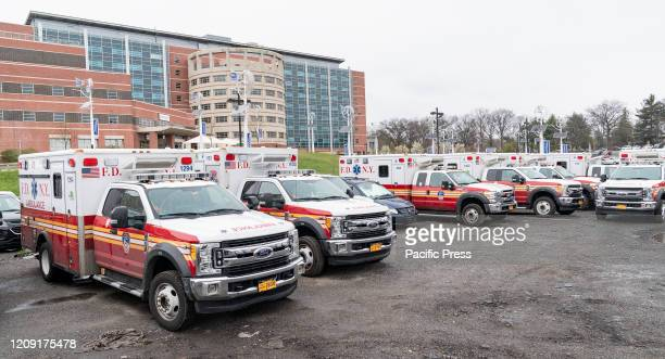 Emergency Medical Service vehicles on stand by at Jacobi hospital where patients of COVID-19 pandemic are treated in the Bronx.
