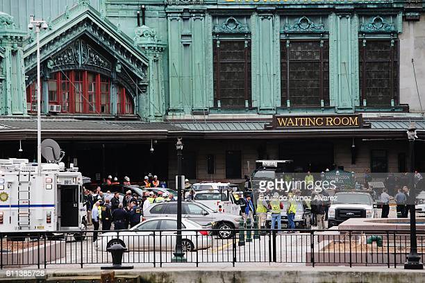 Emergency members on the scene as multiple people were injured after a NJ Transit train crashed in to the platform at Hoboken Terminal September 29...