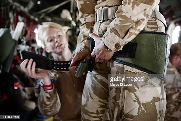 Emergency Nurse Commanding Officer of the MERT, FLT LT Fiona McGlynn, 37-years-old from the Selly Oak Hospital in Birmingham applies, during an...
