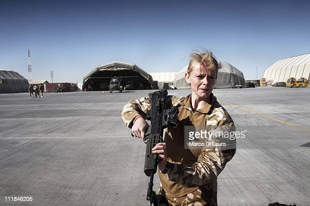 Emergency Nurse Commanding Officer of the MERT, FLT LT Fiona McGlynn, 37-years-old from the Selly Oak Hospital in Birmingham checks her rifle at the...