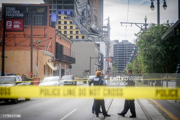 Emergency officials are on the scene of a partial building collapse at the Hard Rock Hotel construction site downtown New Orleans Louisiana on...