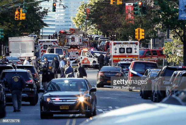 Emergency personal respond after reports of multiple people hit by a truck after it plowed through a bike path in lower Manhattan on October 31 2017...
