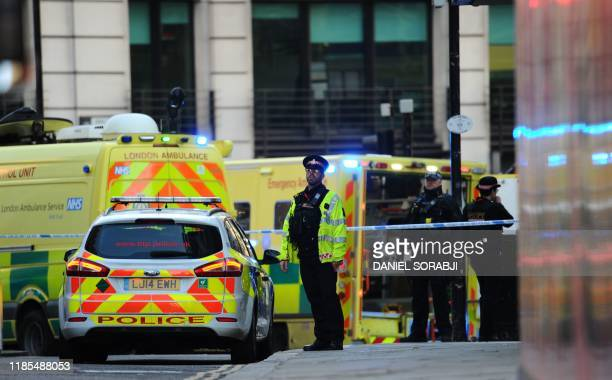 Emergency personel and vechiles gather near London Bridge in London on November 29 2019 after reports of shots being fired on London Bridge A man...