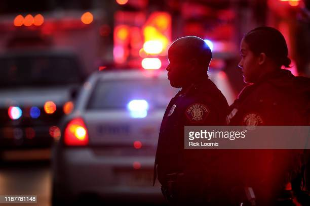 Emergency personnel are shown on the scene of a shooting that left multiple people dead on December 10 2019 in Jersey City New Jersey In a raging gun...