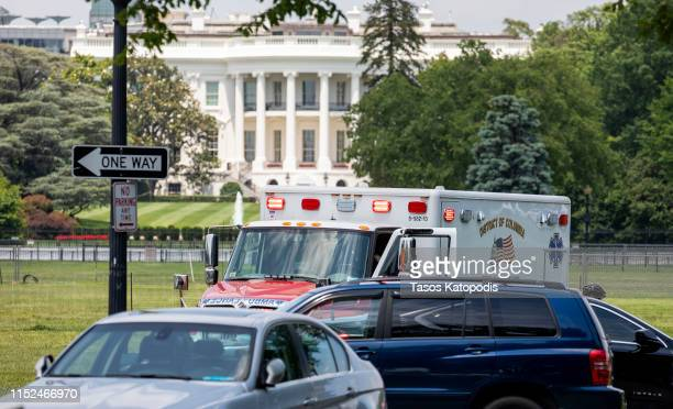 Emergency personnel responds to a man that set himself on fire on the Ellipse near 15th and Constitution Avenue on May 29 2019 in Washington DC...
