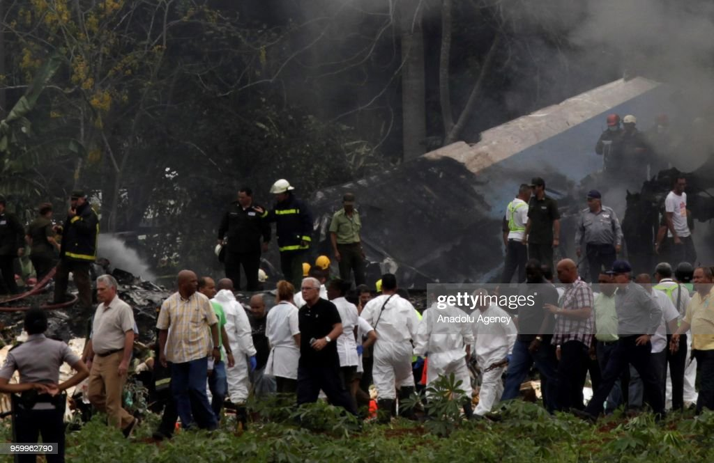 Emergency personnel work at the site of the accident after a Boeing 737 aircraft with more than 100 passengers aboard crashed shortly after take off from the Jose Marti International airport in Havana, Cuba on May 18, 2018.