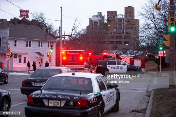 Emergency personnel work the scene of a shooting at the Molson Coors Brewing Co campus on February 26 2020 in Milwaukee Wisconsin Six people...