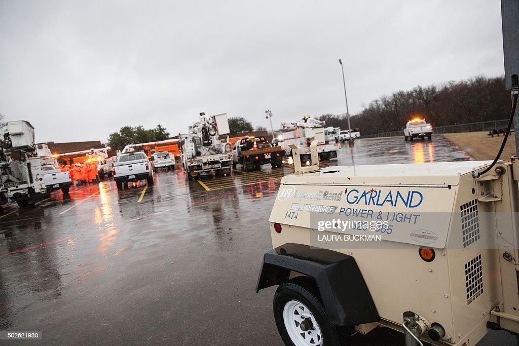 Emergency Power U0026 Light Crews Gather To Repair Damage After Night Tornado  In Garland, Texas
