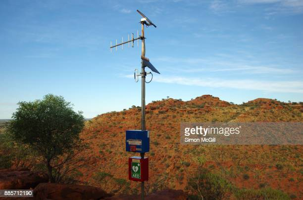 Emergency radio call box and automated external defibrillator (AED) box on the Rim Walk at Kings Canyon, Watarrka National Park, Northern Territory, Australia