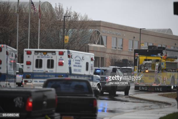 Emergency responders are seen on March 20 2018 at Great Mills High School in Great Mills Maryland after a shooting at the school A shooting took...