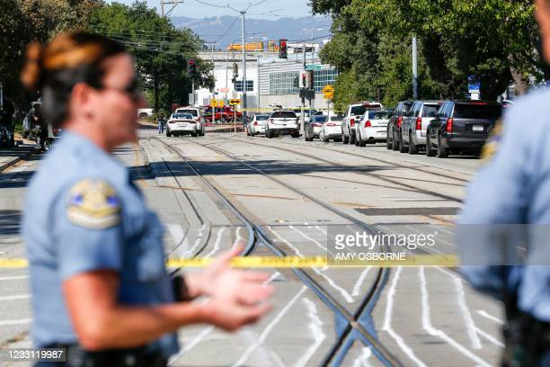 Emergency responders gather at the scene of a shooting where nine people were reported dead including the shooter on May 26, 2021 at the San Jose...