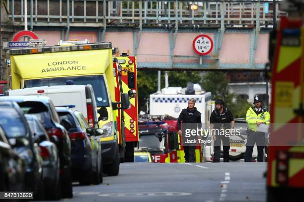 Emergency serivces attend to the scene near Parsons Green Underground Station on September 15 2017 in London England Several people have been injured...