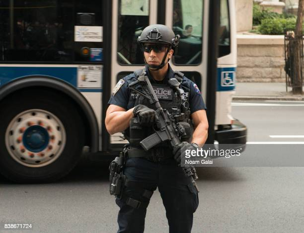Emergency Service Unit officer is seen outside the 2017 Lotte New York Palace Invitational at Lotte New York Palace on August 24 2017 in New York City