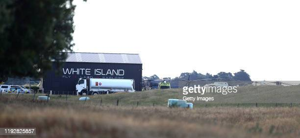Emergency services are pictured at the Whakatane Airport on December 09 2019 in Whakatane New Zealand One person has died several are injured and...