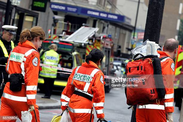 Emergency services arrive at Edgware Road following an explosion which has ripped through London's underground tube network on July 7 2005 in London...