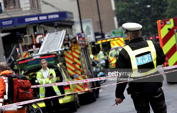Emergency services arrive at Edgware Road following an explosion which has ripped through London's inderground tube network on July 7 2005 in London...