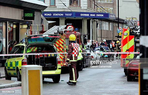 Emergency services arrive at Edgware Road station following a series of explosions which has ripped through London's underground tube network on July...
