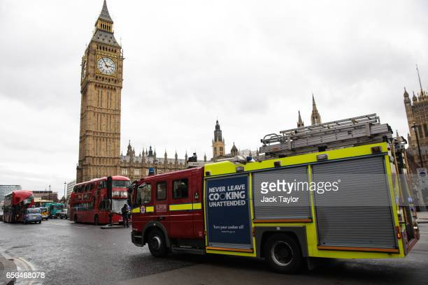 Emergency services arrive at Westminster Bridge and the Houses of Parliament on March 22 2017 in London England A police officer has been stabbed...