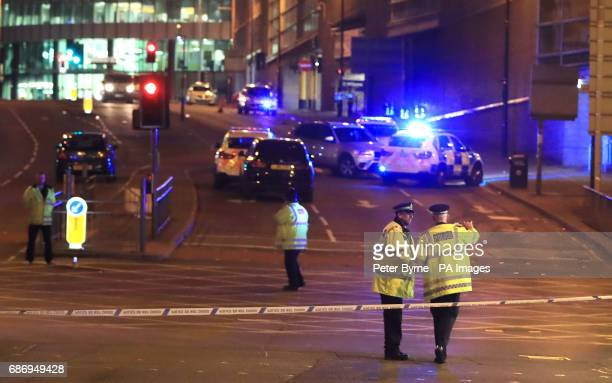 Emergency services at Manchester Arena after reports of an explosion at the venue during an Ariana Grande gig