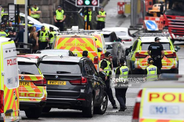 Emergency services at the scene after there were initial reports of three people being killed in a central Glasgow hotel on June 26, 2020 in Glasgow,...