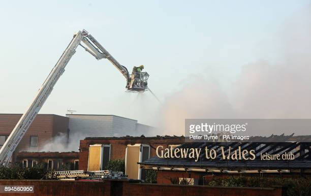 Emergency services at the scene of a fire at the Gateway to Wales Hotel in Deeside
