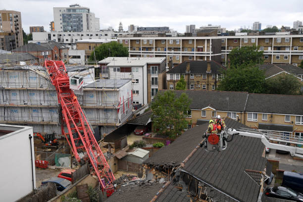 GBR: 20-metre Crane Collapses Onto Terraced House In East London