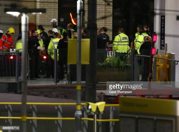 Emergency services at Victoria Railway Station close to the Manchester Arena on May 23 2017 in Manchester England An explosion occurred at Manchester...